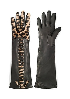 Leopard Haircalf Whipstitch Long Gloves