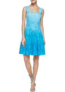 Diane von Furstenberg Lesly Seamed Fit-and-Full Dress, Sky Ombre