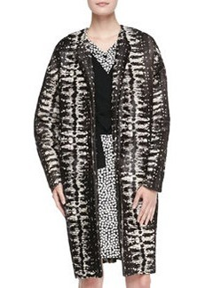 Long Printed Calf Hair Coat   Long Printed Calf Hair Coat