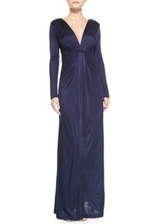 Long-Sleeve Drape-Front Gown   Long-Sleeve Drape-Front Gown