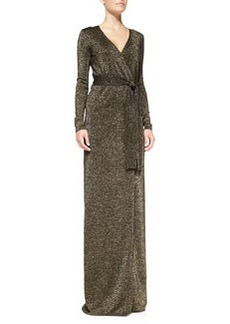 Long-Sleeve Lamé Maxi Dress   Long-Sleeve Lamé Maxi Dress