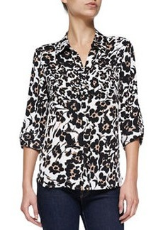 Lorelei Floral-Print Silk Blouse, Cheetah   Lorelei Floral-Print Silk Blouse, Cheetah