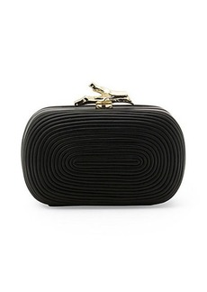 Lytton Coil Metallic Leather Clutch