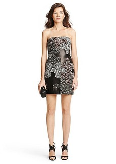 Maria Leather Puzzle Pieced Strapless Dress