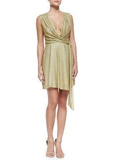Metallic Jersey Faux-Wrap Dress   Metallic Jersey Faux-Wrap Dress