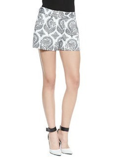 Naples Floral Stamp Shorts, Black/White   Naples Floral Stamp Shorts, Black/White