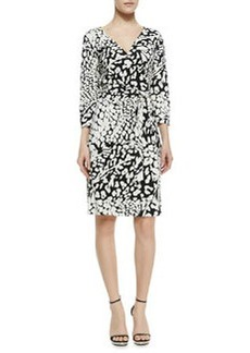 New Julian Two Feather & Leopard Print Wrap Dress   New Julian Two Feather & Leopard Print Wrap Dress