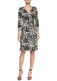 New Julian Two Snow Leopard-Print Wrap Dress   New Julian Two Snow Leopard-Print Wrap Dress