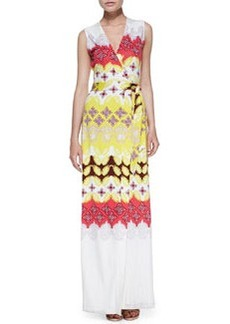 New Yahzi Border-Print Maxi Wrap Dress   New Yahzi Border-Print Maxi Wrap Dress