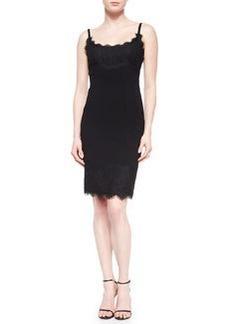 Diane von Furstenberg Olivette Lace-Trim Crepe Dress