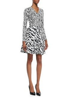 Printed Full-Skirt Silk Wrap Dress   Printed Full-Skirt Silk Wrap Dress