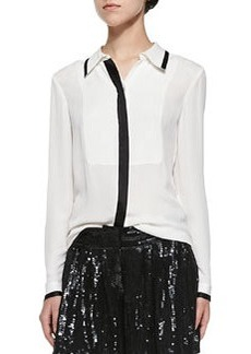 Quiana Long-Sleeve Blouse W/ Contrast Trim   Quiana Long-Sleeve Blouse W/ Contrast Trim