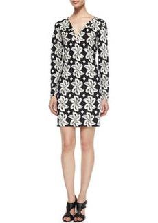 Diane von Furstenberg Reina Giant Leaf Printed Dress, Black
