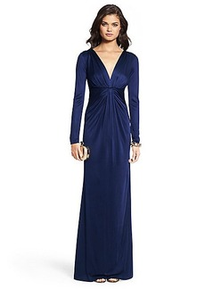 Ruched V-neck Gown