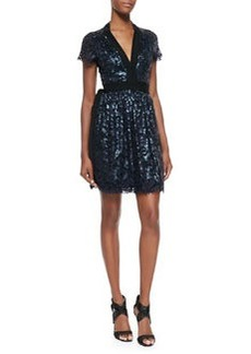 Sabina Sequined Lace Tie-Waist Dress   Sabina Sequined Lace Tie-Waist Dress