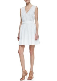 Shilo Sleeveless V-Neck Dress, White   Shilo Sleeveless V-Neck Dress, White