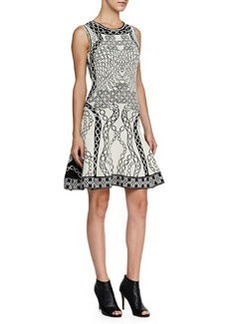 Sleeveless Printed Fit-and-Flare Dress   Sleeveless Printed Fit-and-Flare Dress