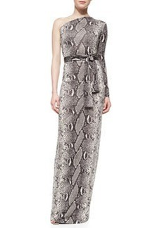 Snake-Print One-Shoulder Maxi Dress   Snake-Print One-Shoulder Maxi Dress