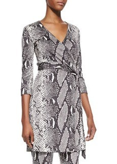 Snake-Print Wrap Tunic Top   Snake-Print Wrap Tunic Top