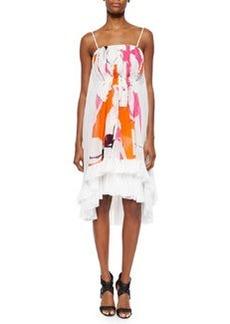 Diane von Furstenberg Sybil Printed Tiered Spaghetti-Strap Silk Dress