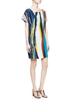 Tania Short-Sleeve Glass Patch Dress, Multicolor   Tania Short-Sleeve Glass Patch Dress, Multicolor