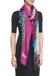 Textured Collage Hanover Modal Scarf, Pink/Blue/Black   Textured Collage Hanover Modal Scarf, Pink/Blue/Black