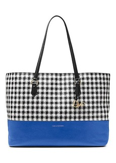 Voyage Gingham Colorblock Leather Large Tote