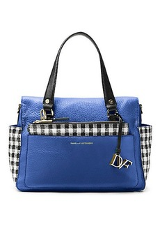 Voyage Gingham Colorblock Leather Satchel Bag