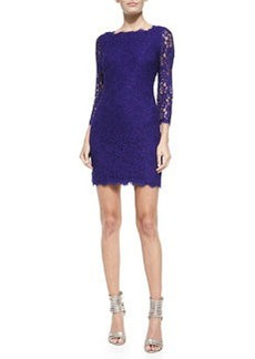 Zarita 3/4-Sleeve Fitted Lace Dress, Chrome Purple   Zarita 3/4-Sleeve Fitted Lace Dress, Chrome Purple