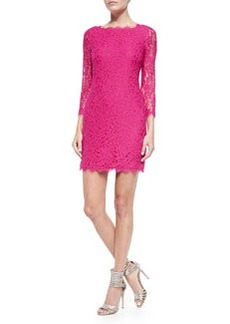 Zarita 3/4-Sleeve Fitted Lace Dress, Fuchsia Jewel   Zarita 3/4-Sleeve Fitted Lace Dress, Fuchsia Jewel