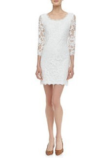 Zarita 3/4-Sleeve Lace Dress, White   Zarita 3/4-Sleeve Lace Dress, White