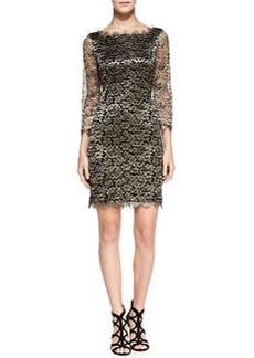 Zarita 3/4-Sleeve Metallic Lace Dress   Zarita 3/4-Sleeve Metallic Lace Dress