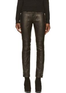 Diesel Black Gold Black Leather Punik Trousers