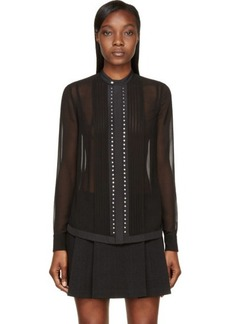 Diesel Black Gold Black Sheer Crepe Studded Comelly Blouse
