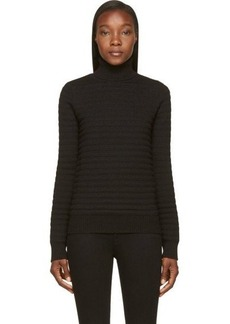 Diesel Black Gold Black Striped Rib Knit Wool Turtleneck