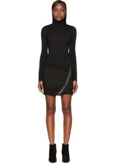 Diesel Black Gold Black Wool Turtleneck Dolcevi Dress