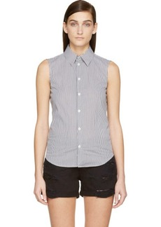 Diesel Black Gold White & Black Sleeveless Striped Shirt