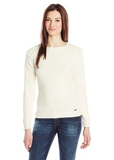 Diesel Women's M-Cipria Cotton Biker Detail Long Sleeve Top