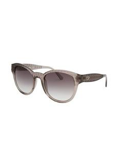 Diesel Women's Round Grey Transparent Sunglasses