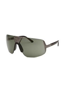 Diesel Women's Semi-Rimless Silver-Tone and Black Sunglasses