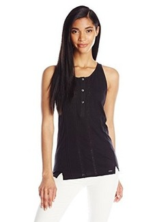 Diesel Women's T-Isild Jersey with Lace Inserts Tank, Black, X-Large