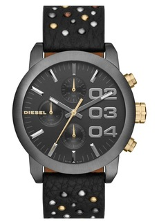 DIESEL® 'Flare' Chronograph Studded Leather Strap Watch, 40mm