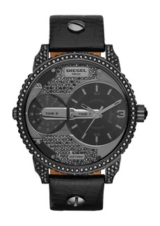 DIESEL® 'Little Daddy' Crystal Accent Leather Strap Watch, 46mm