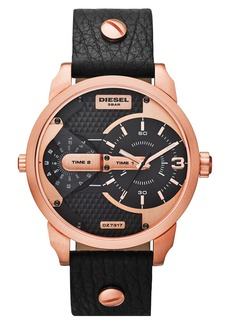 DIESEL® 'Mini Daddy' Multi Movement Leather Strap Watch, 46mm
