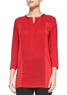 3/4-Sleeve Crepe Top with Jersey Sides, Real Red   3/4-Sleeve Crepe Top with Jersey Sides, Real Red