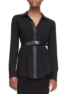 Alligator-Embossed Leather Belt, Black   Alligator-Embossed Leather Belt, Black