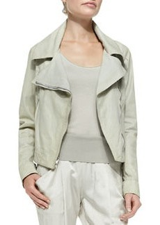 Asymmetric-Zip Leather Jacket   Asymmetric-Zip Leather Jacket