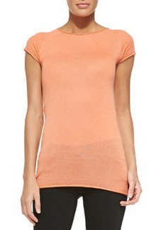 Cashmere Short-Sleeve Crewneck Top   Cashmere Short-Sleeve Crewneck Top