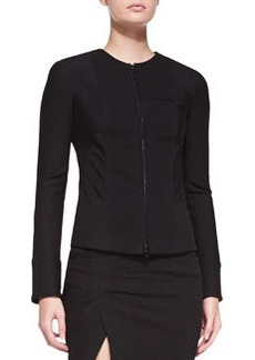 Collarless Zip-Front Jacket   Collarless Zip-Front Jacket