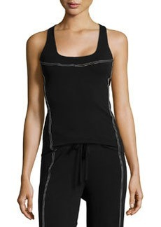 Contrast-Stitch Seamed Tank, Black/Ivory   Contrast-Stitch Seamed Tank, Black/Ivory